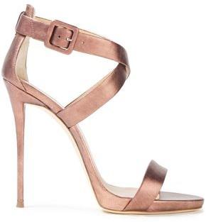 Giuseppe Zanotti Coline 110 Metallic Leather Platform Sandals