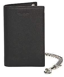 Saint Laurent Men's Chain Bi-Fold Pebbled Leather Wallet