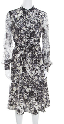 Lanvin Dark Grey Floral Printed Silk Belted Midi Dress S