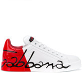 Dolce & Gabbana logo panel lace-up sneakers - women - Leather/rubber - 35