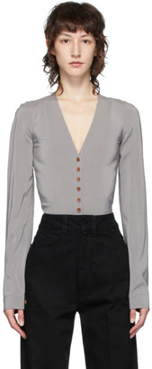 Lemaire Grey Silk Shirt Bodysuit