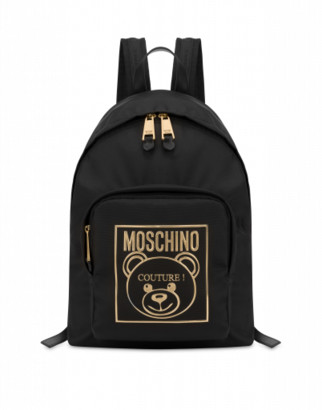 Moschino Gold Teddy Label Backpack Woman Black Size U It - (one Size Us)