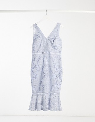 Lipsy lace midi dress with pephem in cornflower blue