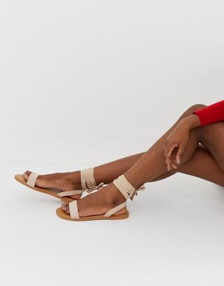 ASOS DESIGN Flawless tie leg flat sandals