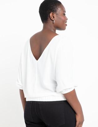 V Back Puff Sleeve Top