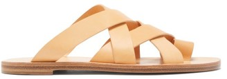 Jil Sander Toe-loop Cross-strap Leather Slides - Womens - Tan