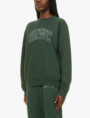 Sporty & Rich Varsity brand-print cotton-jersey sweatshirt