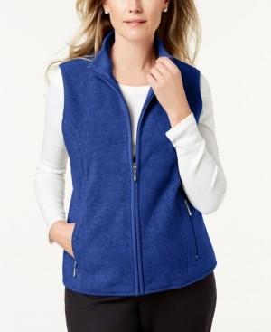 Karen Scott Plus Size Fleece Zip-Front Vest, Created for Macy's