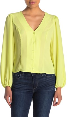 Lush Long Sleeve V-Neck Button Front Blouse