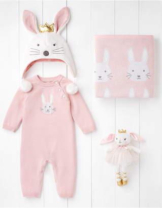 Elegant Baby Bella Bunny Romper, Hat, Blanket & Toy Set