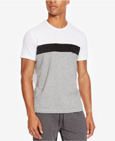 Kenneth Cole Reaction Men's Colorblocked T-Shirt with Faux Suede Stripe