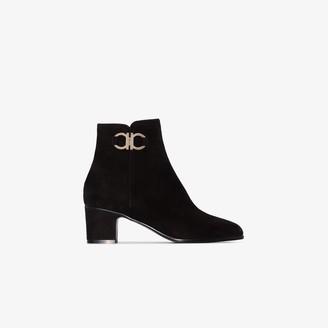 Salvatore Ferragamo black Cassaro 55 suede ankle boots