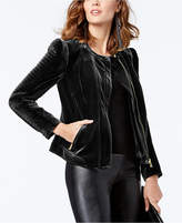 INC International Concepts Velvet Moto Jacket, Created for Macy's