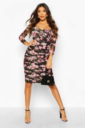 boohoo Floral Off Shoulder Ruched Mesh Bodycon Midi Dress