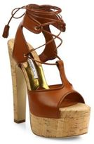 Brian Atwood Brittany Leather Lace-Up Cork Platform Sandals