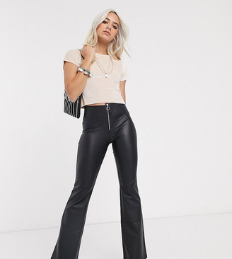Topshop Petite faux leather flared trousers in black