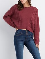 high low hem cropped sweater - ShopStyle