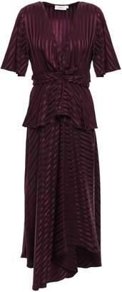 A.L.C. Avi Twist-front Silk-jacquard Peplum Midi Dress