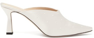 Wandler Lotte Faux Pearl-embellished Satin Mules - Pearl
