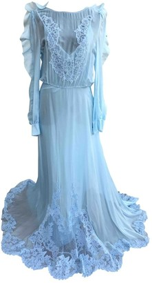Francesco Scognamiglio Blue Silk Dress for Women