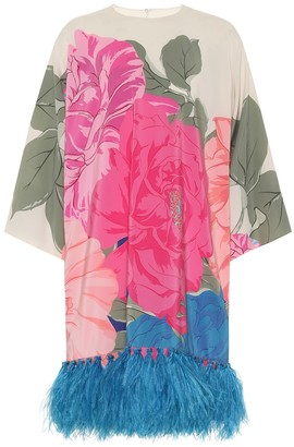Valentino Feather-trimmed floral silk minidress