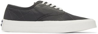 MAISON KITSUNÉ Grey Quilted Laced Sneakers