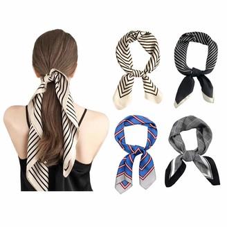 Kepmov 4 Pieces Satin Square Scarf Womens Mixed Design Multifunctional Head Silk Scarves Neck Bandanas 70x70cm