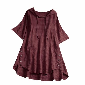 Kalorywee Womens Tops Women Plaid Button Hooded High Low Plus Size Blouse with Pokcets Blouse Red
