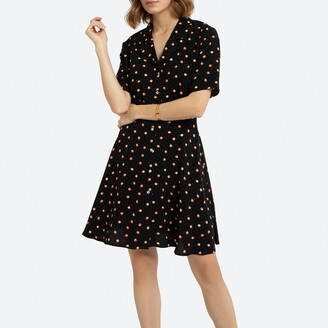 La Redoute Collections Printed Mini Button-Through Dress with Tailored Collar and Short Sleeves