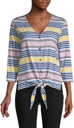 C&C California Striped Tie-Front Button-Down Shirt