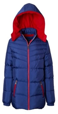 Perry Ellis Big Boys Quilted Puffer with Logo Taping