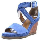 Halston Jane Open Toe Suede Wedge Sandal.