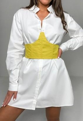 Missguided White Corset Waist Detail Shirt Dress