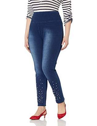SLIM-SATION Women's Plus Size Solid Ponte French Terry Legging Accent Pearls
