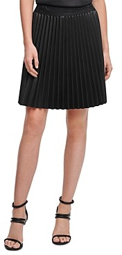 DKNY Pleated Faux Leather Skirt