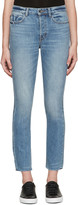 Helmut Lang Blue High-Rise Fray Crop Jeans