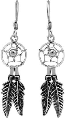 Aeravida Handmade Mystical Sterling Silver Native American Dreamcatcher Dangle Earrings