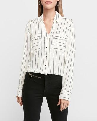 Express Slim Fit Stripe Military Pocket Portofino Shirt