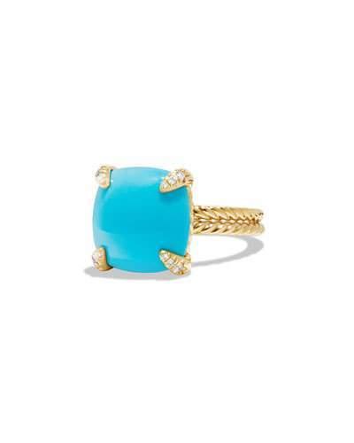 David Yurman Châtelaine 18k Gold 14mm Turquoise Ring w/ Diamonds, Size 6