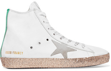 Golden Goose Deluxe Brand Francy Glittered Distressed Leather High-top Sneakers