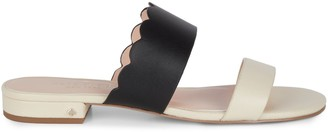 Kate Spade Fetty Flat Scallop Leather Sandals