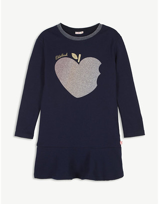 Billieblush Glitter apple-print cotton sweatshirt dress 4-12 years
