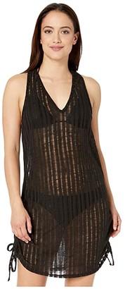 Dotti Pathos Drop Needle Knit Side Shirred Dress Cover-Up (Black) Women's Swimwear