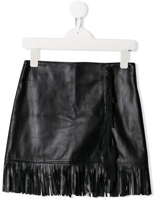 Msgm Kids Short Fringed Skirt