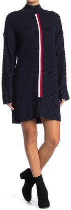 Tommy Hilfiger Striped Mock Neck Sweater Dress