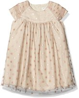 Mamas and Papas Baby-Girls Foil Star Print Starred Short Sleeve Dress,0-3 Months
