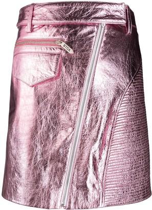Just Cavalli Metallic Leather Mini-Skirt