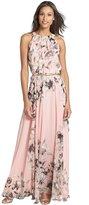 Maxwell Women's Bohemia Floral Chiffon Sleeveless Halter Neck Summer Beach Long Maxi Dress (XL, )