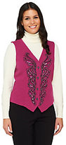Bob Mackie Bob Mackie's Smart Denim Sequin and Embroidered Vest