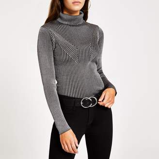River Island Womens Grey ribbed metallic roll neck knitted jumper